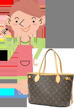 ブランドバッグと主婦の画像